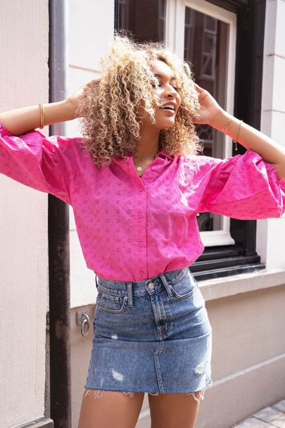 Roze blouse met embroidery