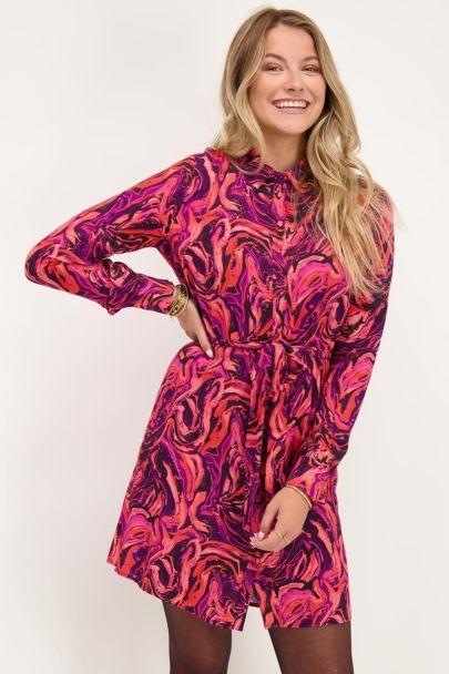 Roze blousejurk met swirl print