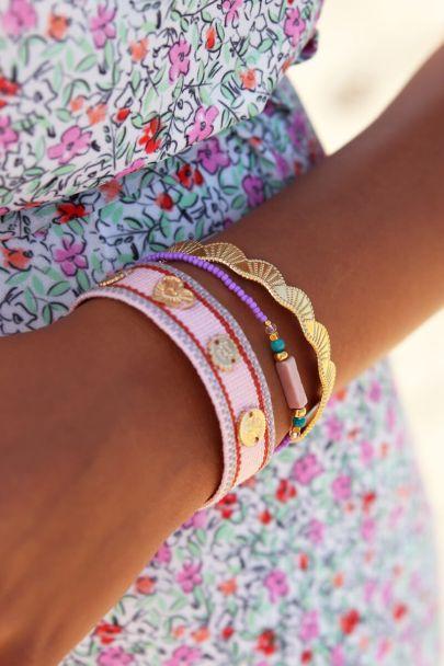Roze bohemian armband met bedeltjes