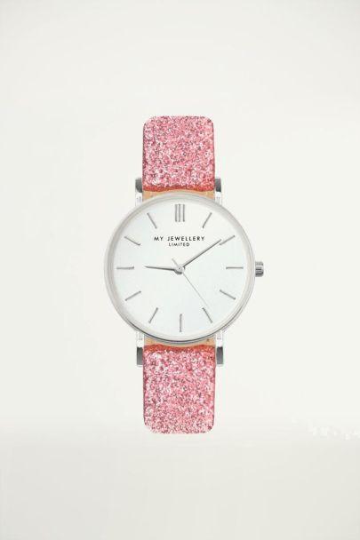 roze glitter horloge, glitter Watch