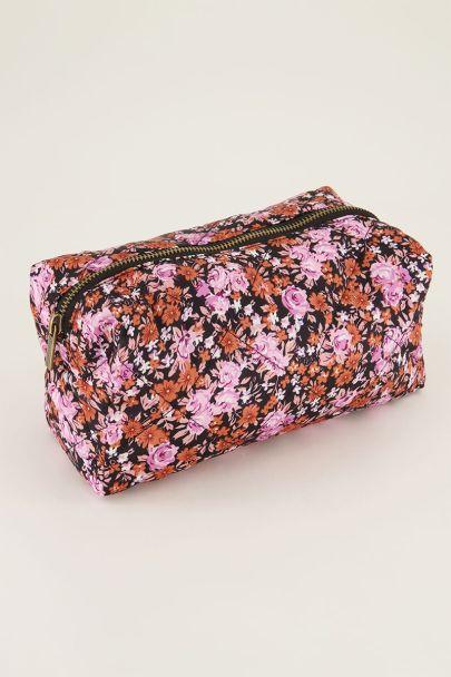 Roze make-up etui met bloemen