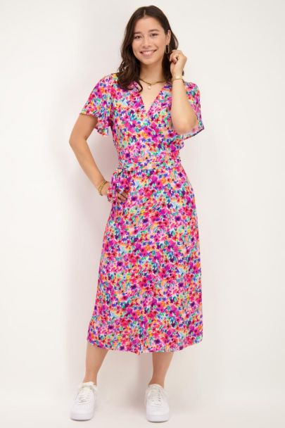 Roze midi jurk met retro bloemenprint