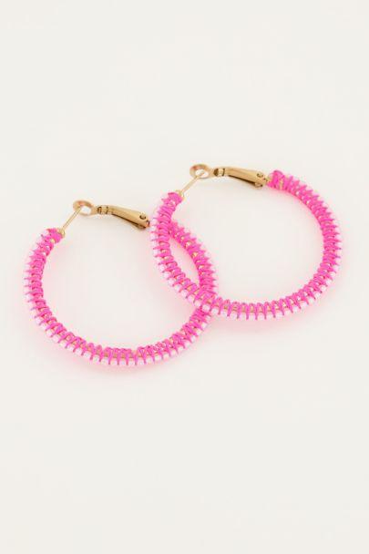 Roze oorbellen kraal rond