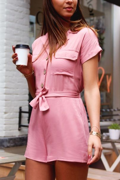 Roze overhemd playsuit