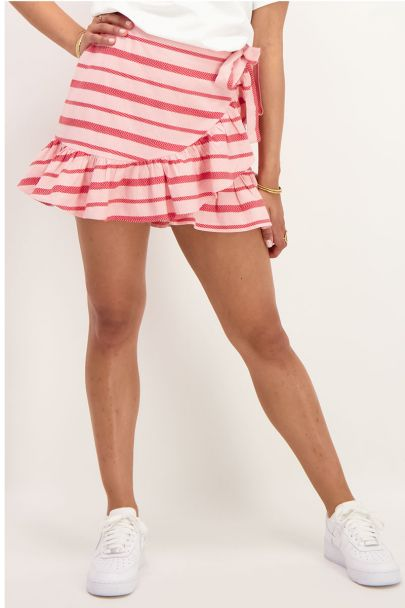 Pink wrap skirt with red stripes