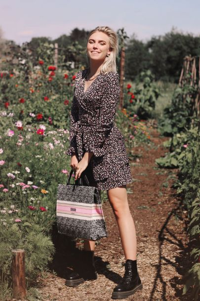 Pink wrap dress with leopard print
