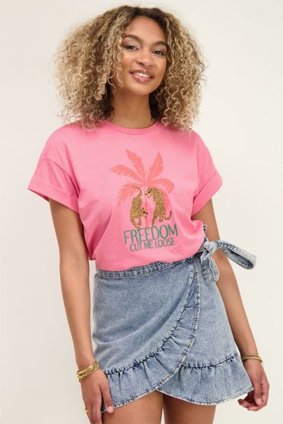 Roze t-shirt freedom cut me loose