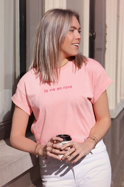 Roze T-shirt la vie en rose