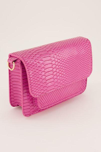 Roze schoudertas croco print