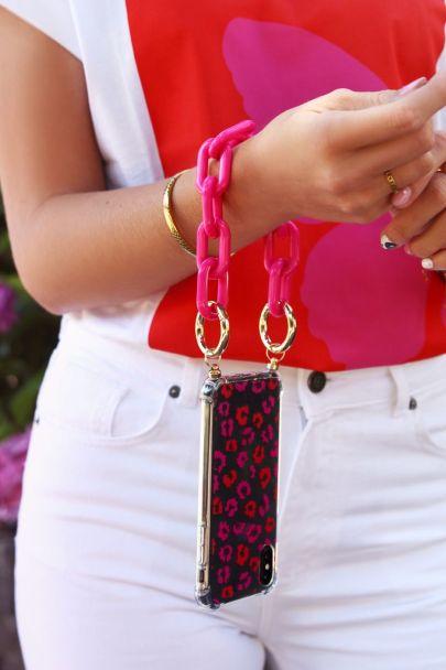 Roze tas ketting