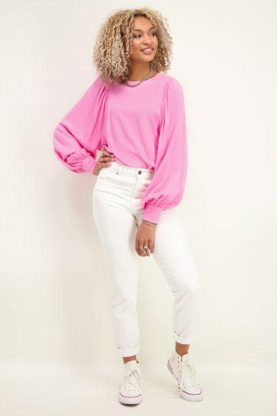 Roze top met grote mouwen