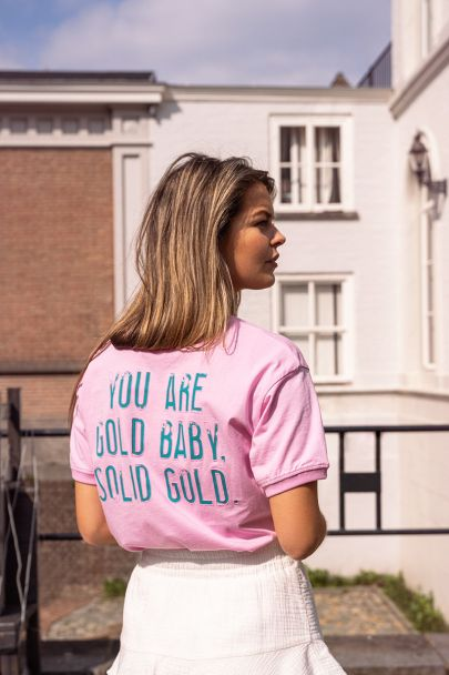 Roze t-shirt solid gold
