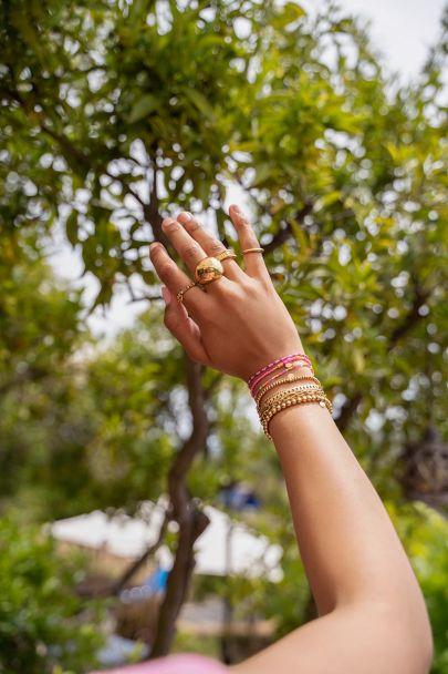 Pink bracelets set of beads