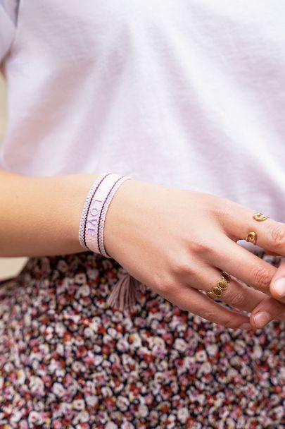 Roze bohemian armbandje love