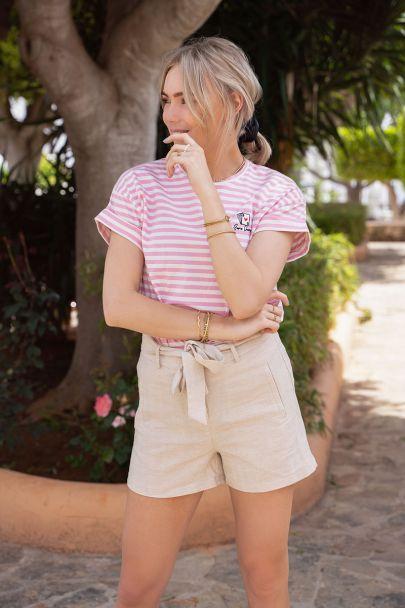 Roze gestreept shirt met kaartje
