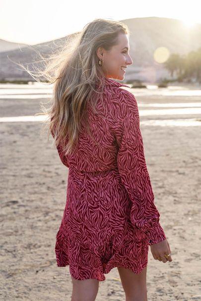 Roze jurk met rode zebraprint