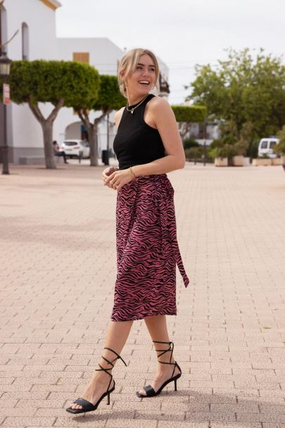 Roze midi rok met zebraprint