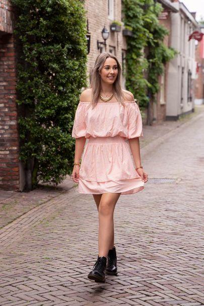 Pink off shoulder dress with checks