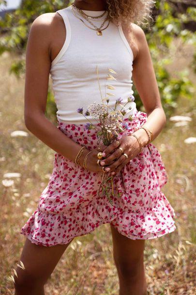 Roze rokje met bloemenprint