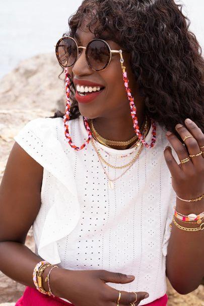 Pink braided sunglasses string