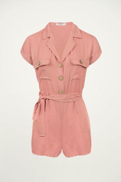 Roze overhemd playsuit, roze playsuit