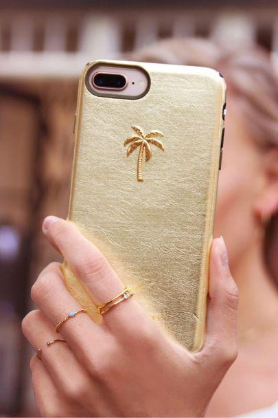 Goudkleurige telefoonhoesje palmboom