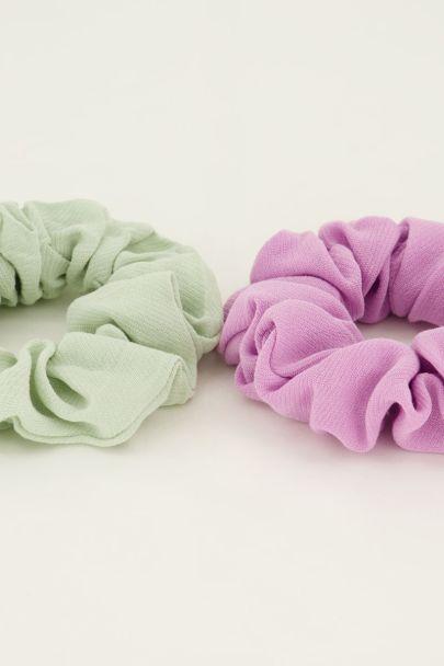Mintgroene & roze scrunchie set