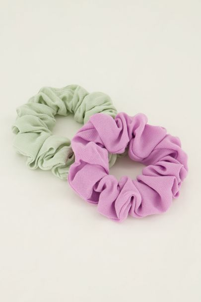 Pastel scrunchie set van 2