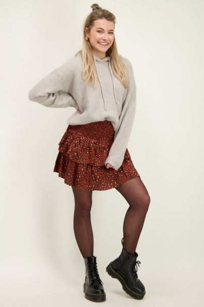 Red skirt with leopard print and layers