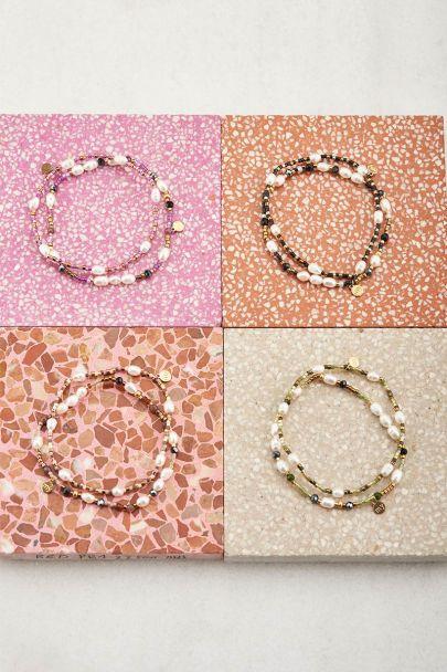 Shapes roze kralen armbanden set