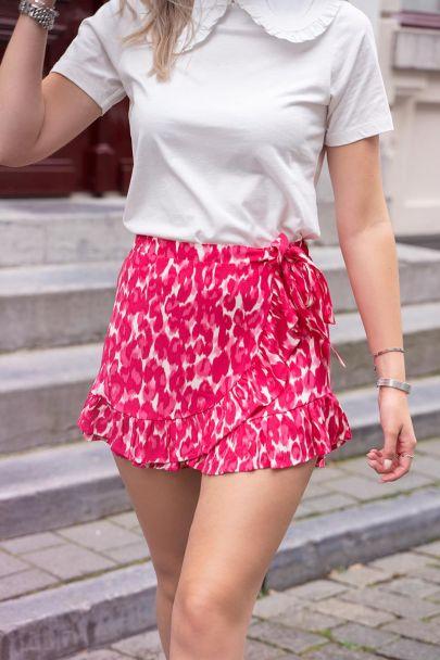 Skort met roze luipaard print