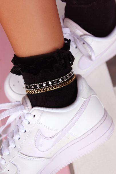 Zwarte sokken met ruffles