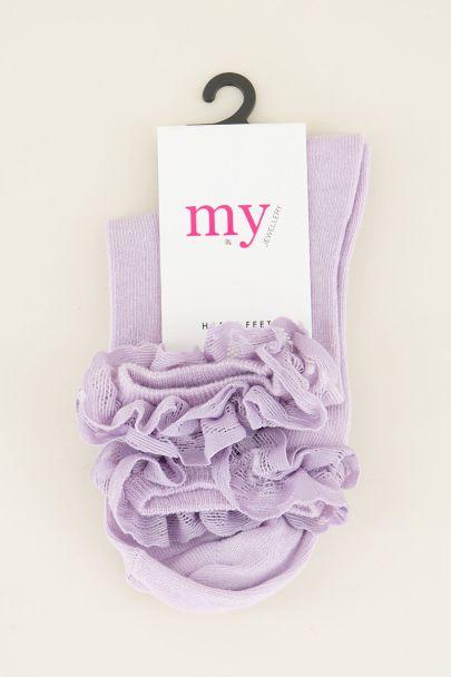 Lila sokken met ruffles | My Jewellery