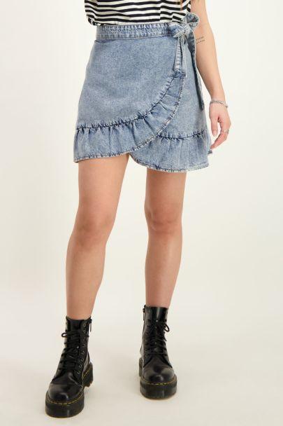 Blauwe denim ruffle skirt