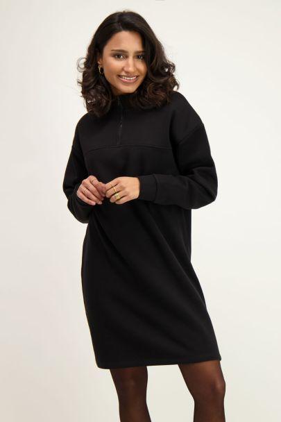 Zwarte sweaterjurk met rits