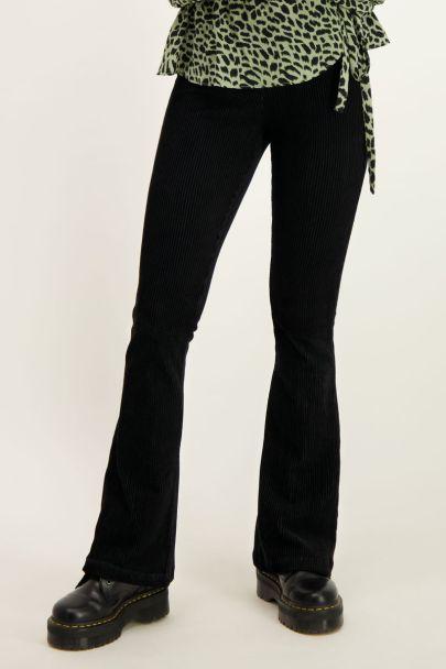 Zwarte flared pants ribstof