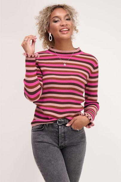 Roze top met strepen