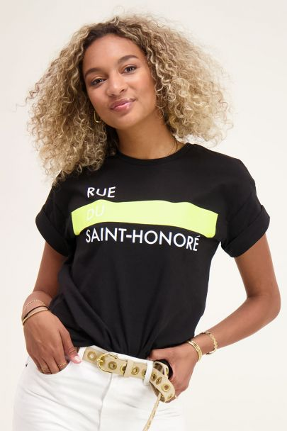 Zwart T-shirt met tekst & neon geel
