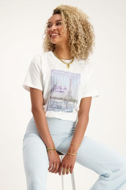 Wit T-shirt Paris print