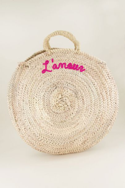 Round Straw Bag L'amour - Pink My jewellery