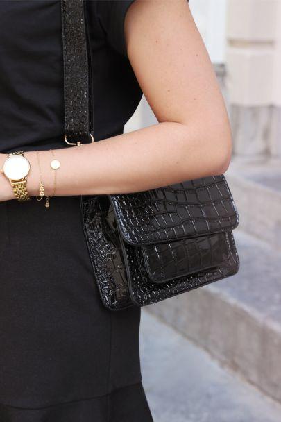Zwarte schoudertas croco print
