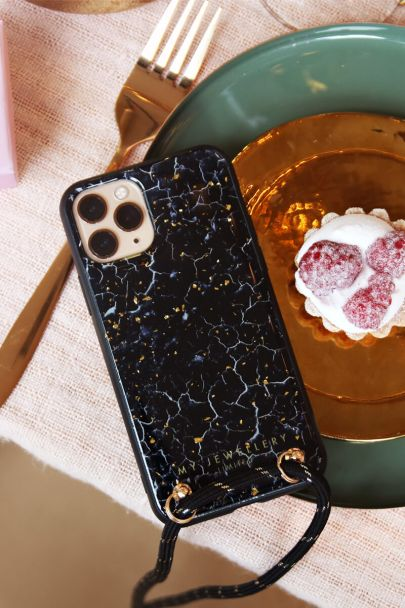 Blauw telefoonhoesje marmer &  glitters