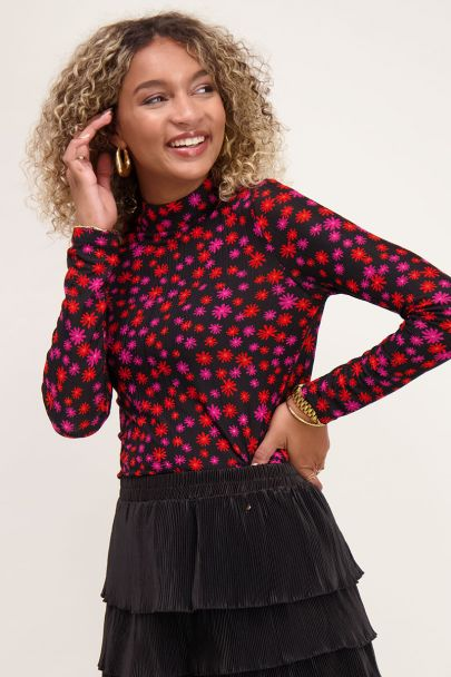 Black mesh top with coloured flowers