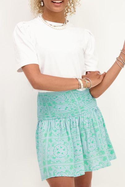 Blauwe rok met groene paisley print