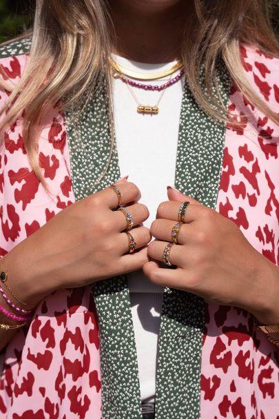 Ring vijf kristal steentjes zilverkleurig