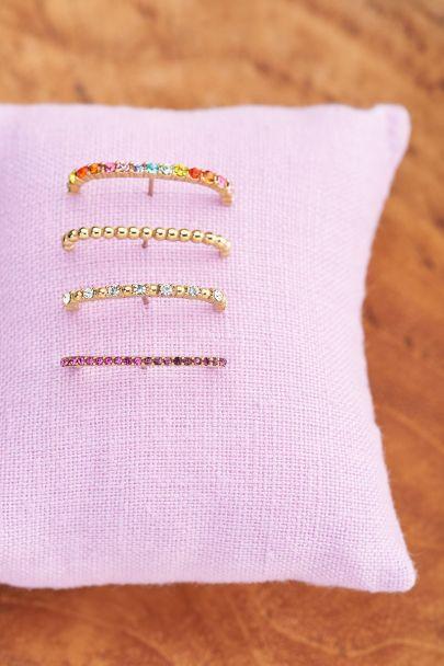 Vintage suspender oorbel roze kristal