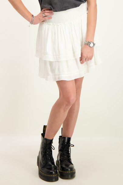 Witte viscose crinkle rok