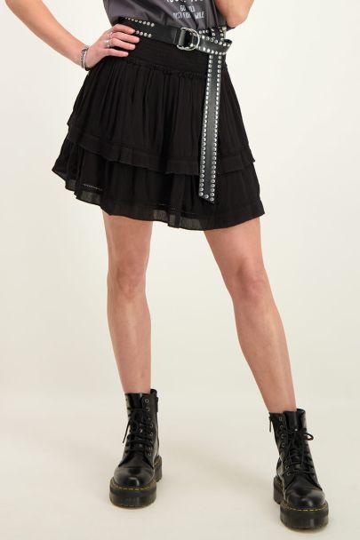 Zwarte viscose crinkle rok