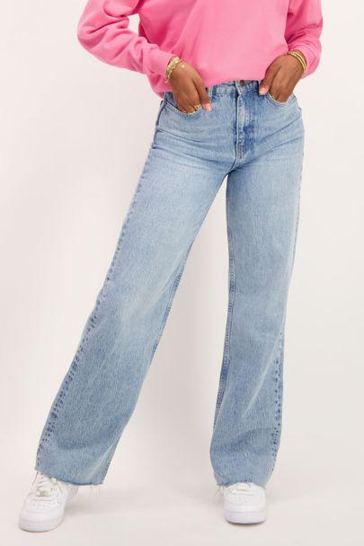 Blauwe wijdvallende jeans