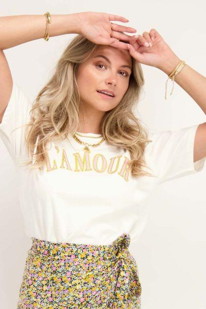 Wit T-shirt L'amour